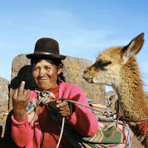 Nicolas Demeersman - The woman and the alpaga, Titicaca Lake, Pérou - 2010