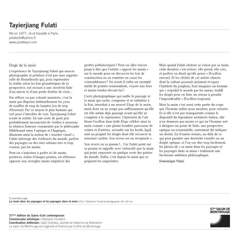 Présentation Fulati Tayierjiang - texte de D. Païni